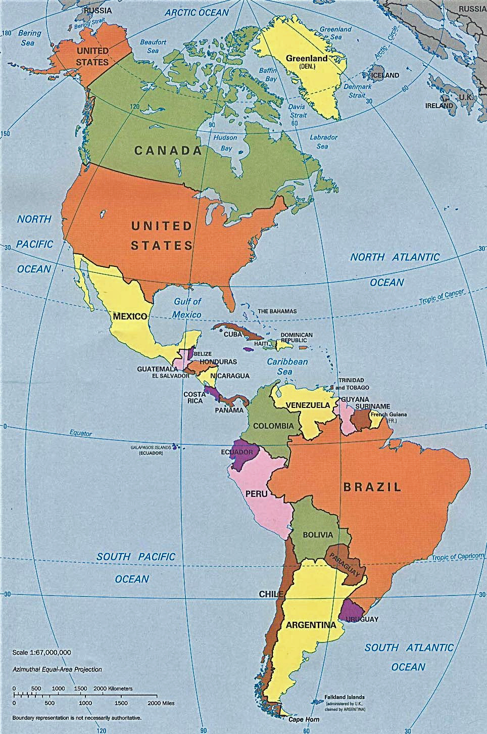 Map of Pan America
