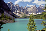 Lake Moraine in Alberta, Canada, North America